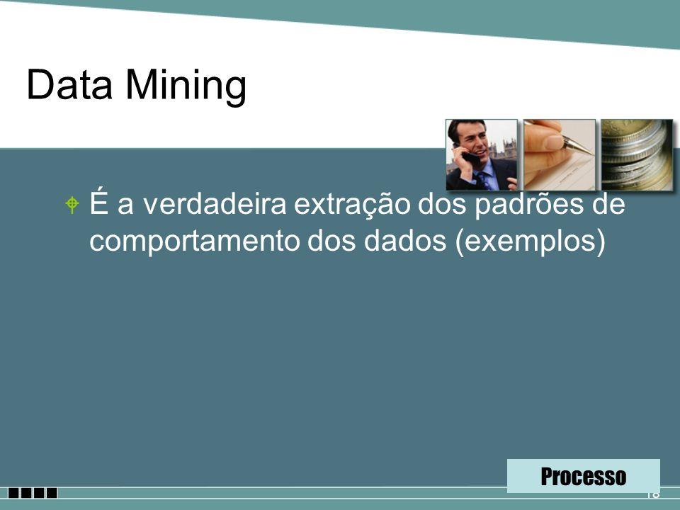 18 Data Mining W É a verdadeira extração dos padrões de comportamento dos dados (exemplos) Processo