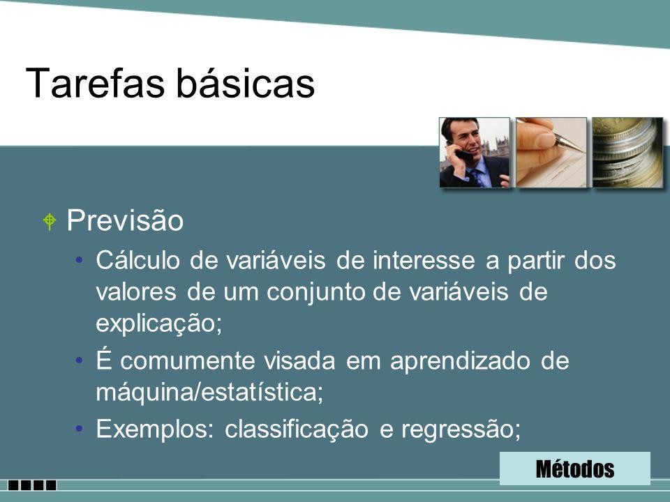 Tarefas básicas W Previsão Cálculo de variáveis de interesse a partir dos valores de um conjunto de variáveis de explicação; É comumente visada em apr