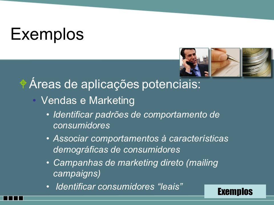 Exemplos WÁreas de aplicações potenciais: Vendas e Marketing Identificar padrões de comportamento de consumidores Associar comportamentos à caracterís
