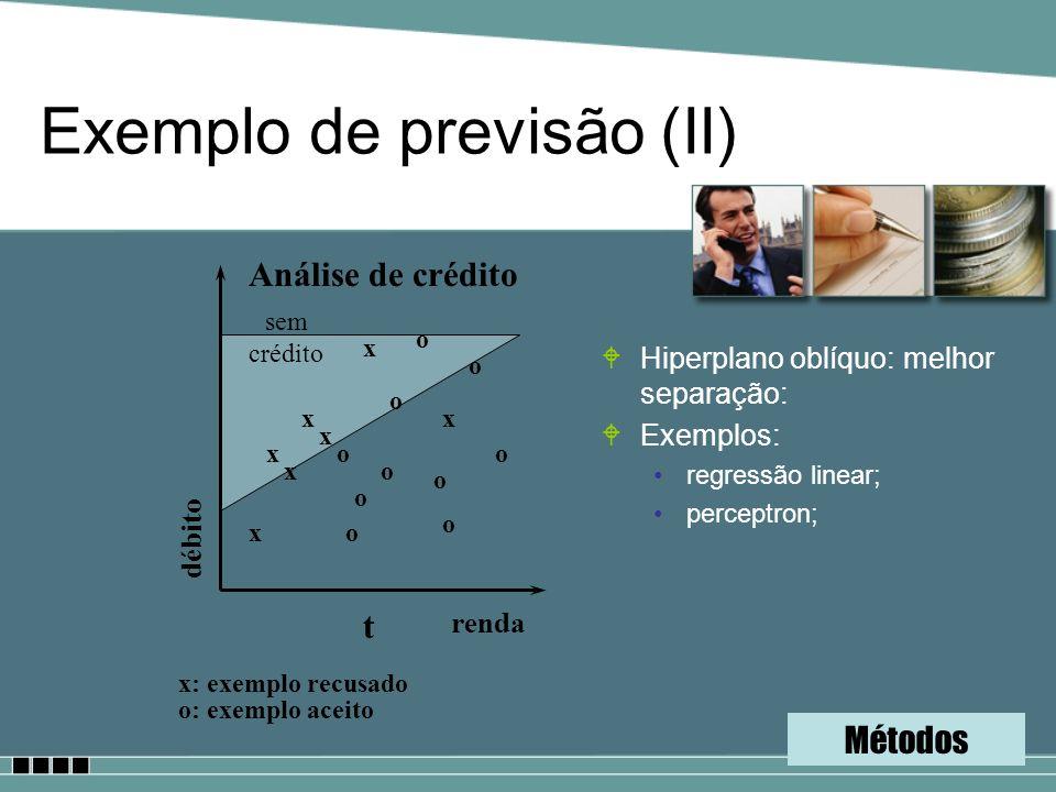 Exemplo de previsão (II) WHiperplano oblíquo: melhor separação: WExemplos: regressão linear; perceptron; Análise de crédito renda débito x x x x x x x