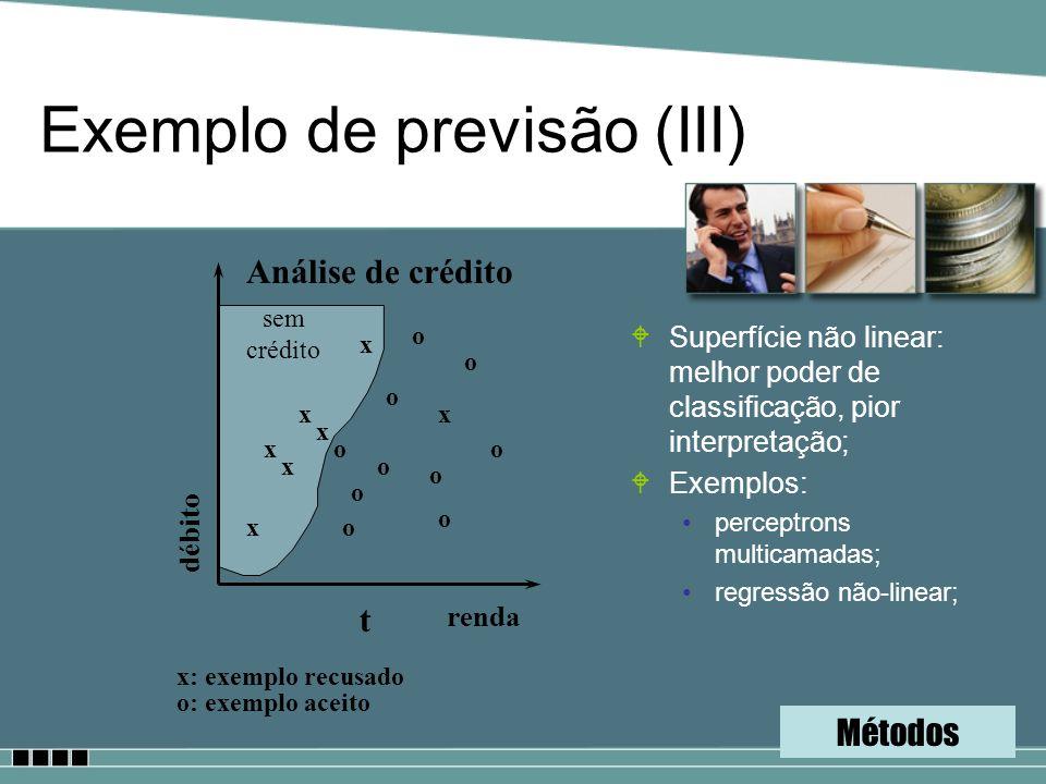 Exemplo de previsão (III) WSuperfície não linear: melhor poder de classificação, pior interpretação; WExemplos: perceptrons multicamadas; regressão nã