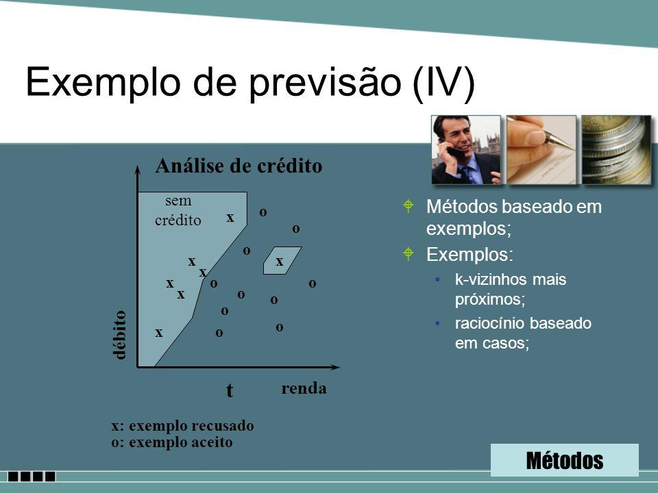 Exemplo de previsão (IV) WMétodos baseado em exemplos; WExemplos: k-vizinhos mais próximos; raciocínio baseado em casos; Análise de crédito renda débi