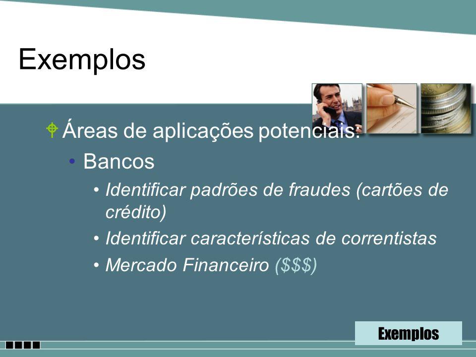 Exemplos WÁreas de aplicações potenciais: Bancos Identificar padrões de fraudes (cartões de crédito) Identificar características de correntistas Merca
