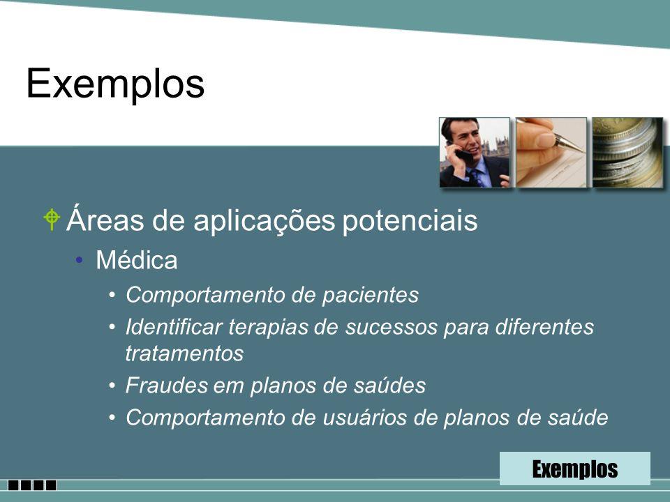 WÁreas de aplicações potenciais Médica Comportamento de pacientes Identificar terapias de sucessos para diferentes tratamentos Fraudes em planos de sa