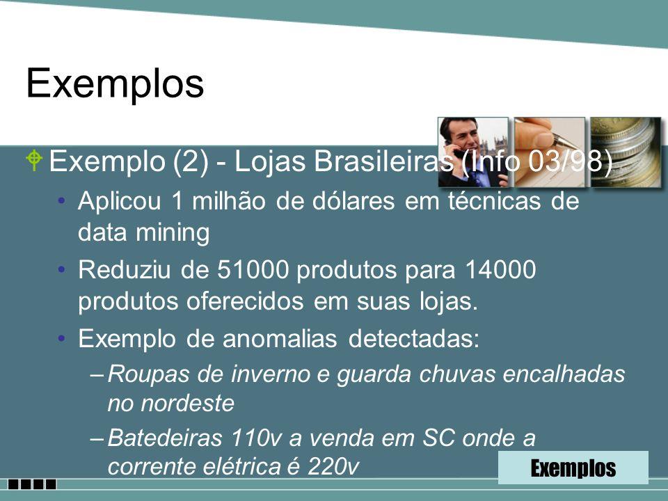 WExemplo (2) - Lojas Brasileiras (Info 03/98) Aplicou 1 milhão de dólares em técnicas de data mining Reduziu de 51000 produtos para 14000 produtos ofe