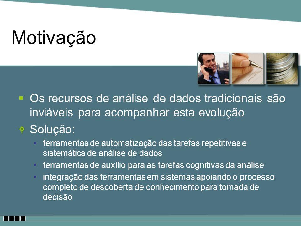 Motivação Os recursos de análise de dados tradicionais são inviáveis para acompanhar esta evolução W Solução: ferramentas de automatização das tarefas
