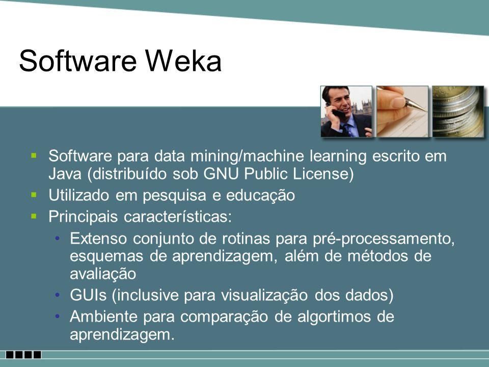 Software Weka Software para data mining/machine learning escrito em Java (distribuído sob GNU Public License) Utilizado em pesquisa e educação Princip