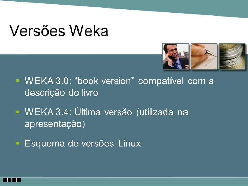 Versões Weka WEKA 3.0: book version compatível com a descrição do livro WEKA 3.4: Última versão (utilizada na apresentação) Esquema de versões Linux