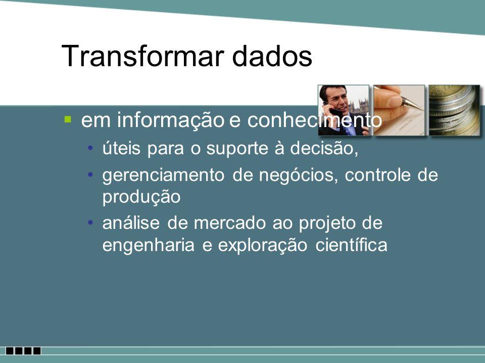 Transformar dados em informação e conhecimento úteis para o suporte à decisão, gerenciamento de negócios, controle de produção análise de mercado ao p