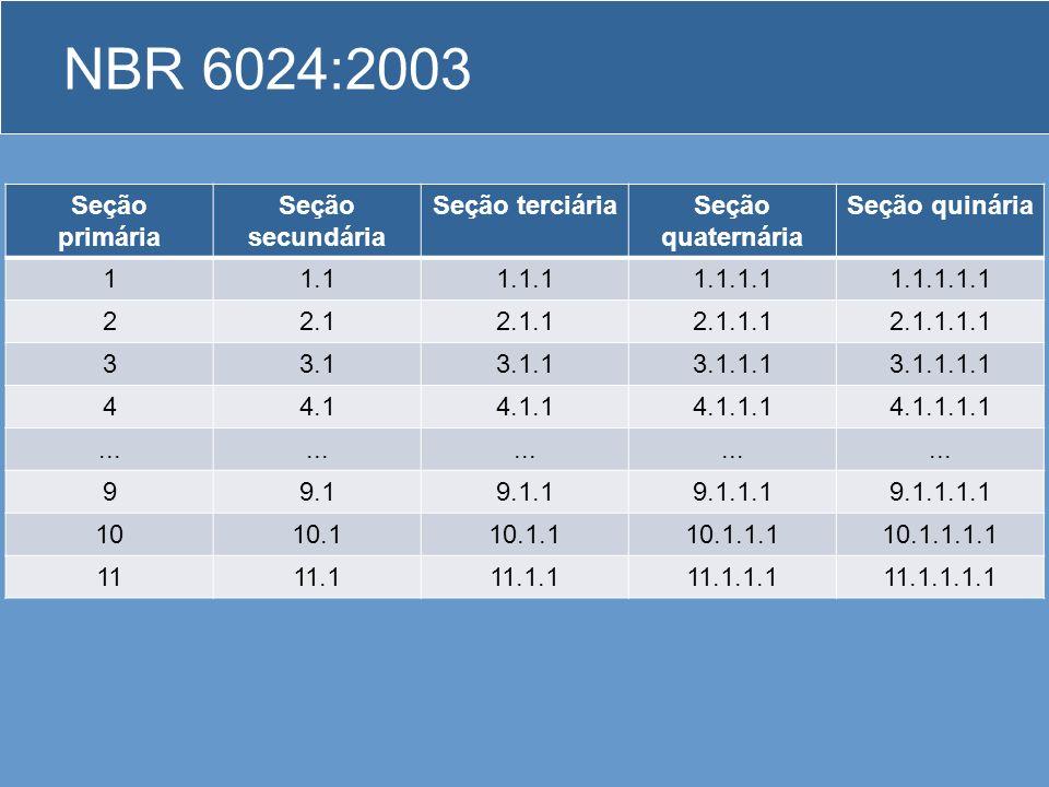 NBR 6024:2003 Regras gerais de apresentação –São empregados algarismos arábicos na numeração. –O indicativo de seção é alinhado na margem esquerda, pr