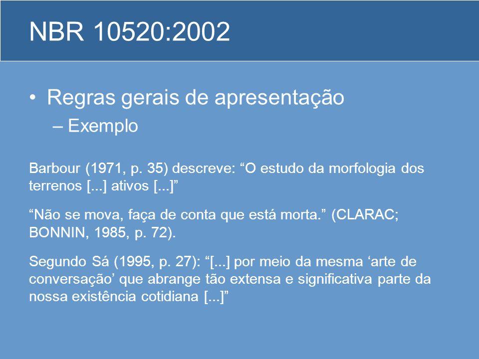 Regras gerais de apresentação –Exemplo Barbour (1971, p. 35) descreve: O estudo da morfologia dos terrenos [...] ativos [...] Não se mova, faça de con