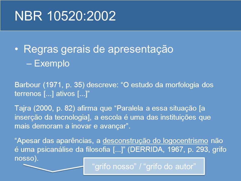 Regras gerais de apresentação –Exemplo Barbour (1971, p. 35) descreve: O estudo da morfologia dos terrenos [...] ativos [...] Tajra (2000, p. 82) afir