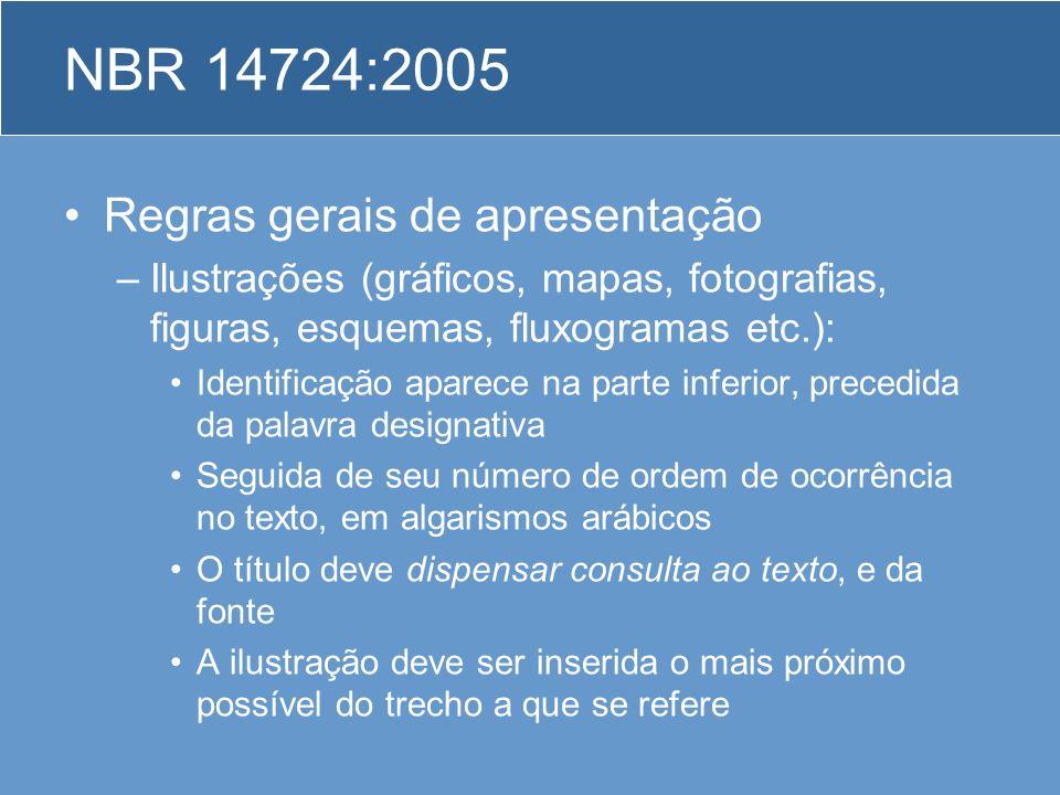 NBR 14724:2005 Regras gerais de apresentação –Ilustrações (gráficos, mapas, fotografias, figuras, esquemas, fluxogramas etc.): Identificação aparece n
