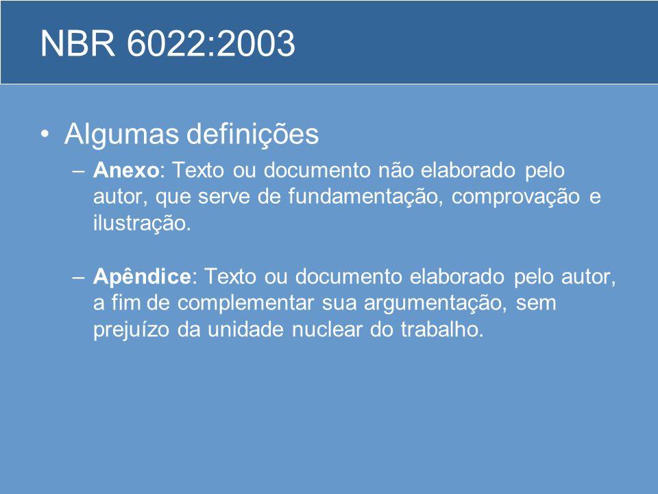 NBR 6022:2003 Algumas definições –Anexo: Texto ou documento não elaborado pelo autor, que serve de fundamentação, comprovação e ilustração. –Apêndice: