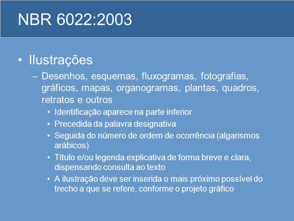 NBR 6022:2003 Ilustrações –Desenhos, esquemas, fluxogramas, fotografias, gráficos, mapas, organogramas, plantas, quadros, retratos e outros Identifica