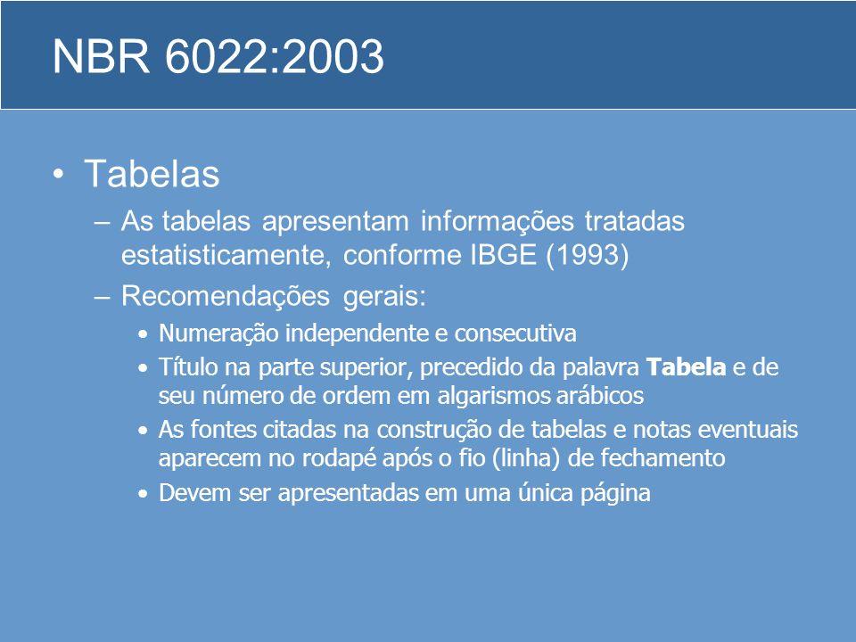 Tabelas –As tabelas apresentam informações tratadas estatisticamente, conforme IBGE (1993) –Recomendações gerais: Numeração independente e consecutiva