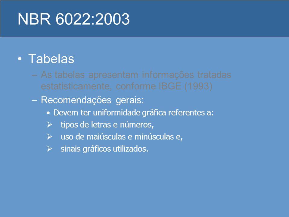 Tabelas –As tabelas apresentam informações tratadas estatisticamente, conforme IBGE (1993) –Recomendações gerais: Devem ter uniformidade gráfica refer