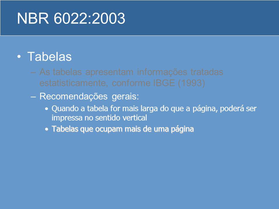 Tabelas –As tabelas apresentam informações tratadas estatisticamente, conforme IBGE (1993) –Recomendações gerais: Quando a tabela for mais larga do qu