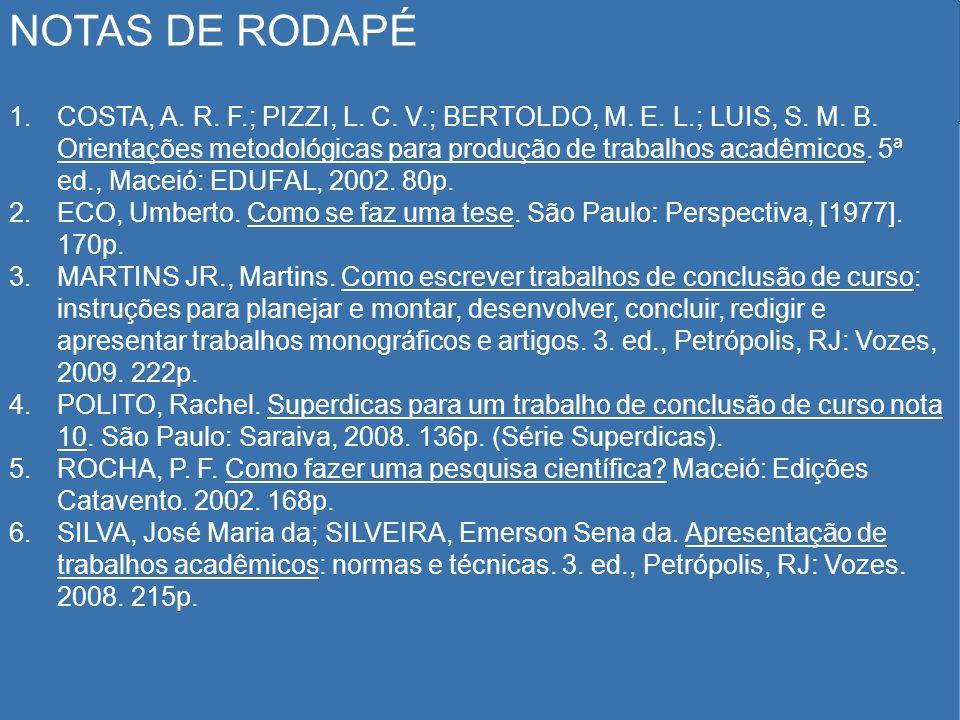 NOTAS DE RODAPÉ 1.COSTA, A. R. F.; PIZZI, L. C. V.; BERTOLDO, M. E. L.; LUIS, S. M. B. Orientações metodológicas para produção de trabalhos acadêmicos