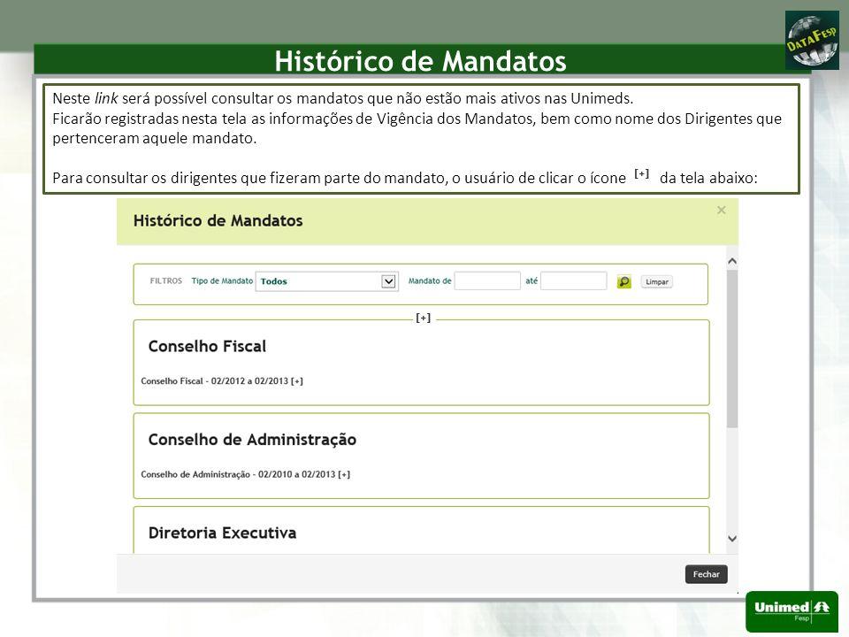 Histórico de Mandatos Neste link será possível consultar os mandatos que não estão mais ativos nas Unimeds.