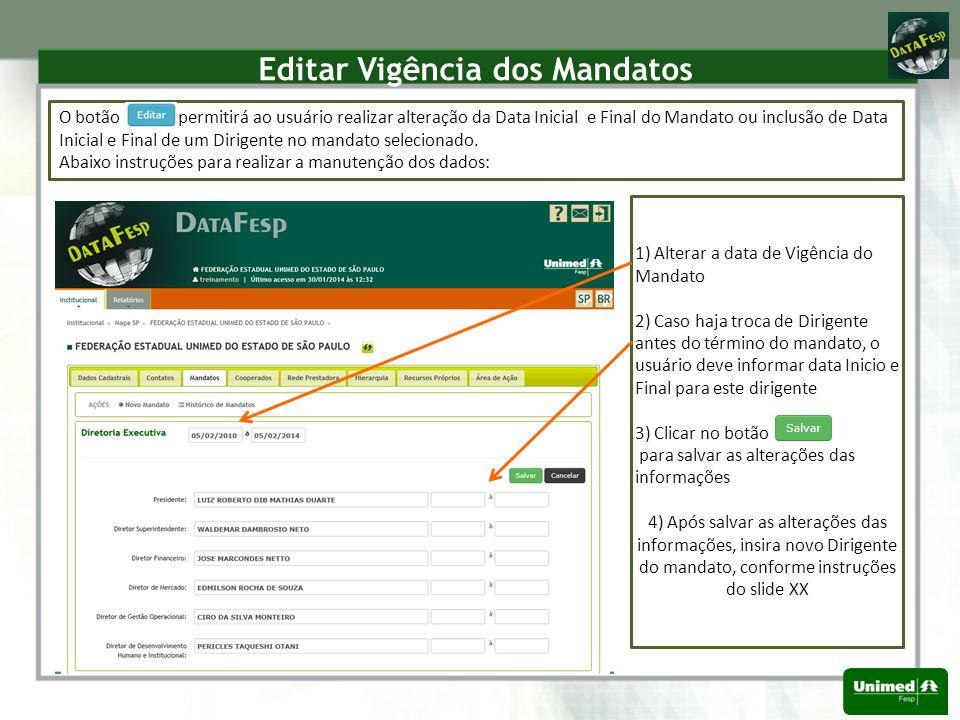 Editar Vigência dos Mandatos O botão permitirá ao usuário realizar alteração da Data Inicial e Final do Mandato ou inclusão de Data Inicial e Final de um Dirigente no mandato selecionado.