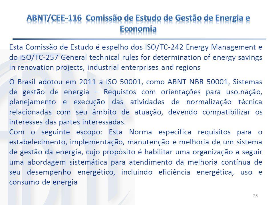 Esta Comissão de Estudo é espelho dos ISO/TC-242 Energy Management e do ISO/TC-257 General technical rules for determination of energy savings in reno