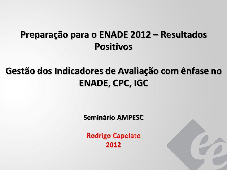 Preparação para o ENADE 2012 – Resultados Positivos Gestão dos Indicadores de Avaliação com ênfase no ENADE, CPC, IGC Seminário AMPESC Rodrigo Capelat