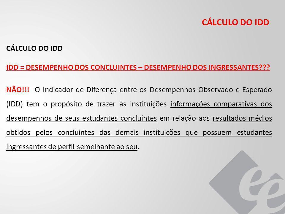 CÁLCULO DO IDD IDD = DESEMPENHO DOS CONCLUINTES – DESEMPENHO DOS INGRESSANTES??.