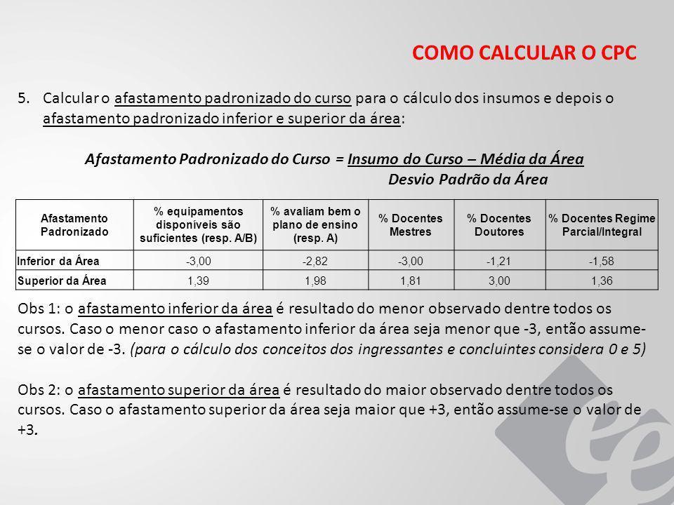 COMO CALCULAR O CPC 5.Calcular o afastamento padronizado do curso para o cálculo dos insumos e depois o afastamento padronizado inferior e superior da