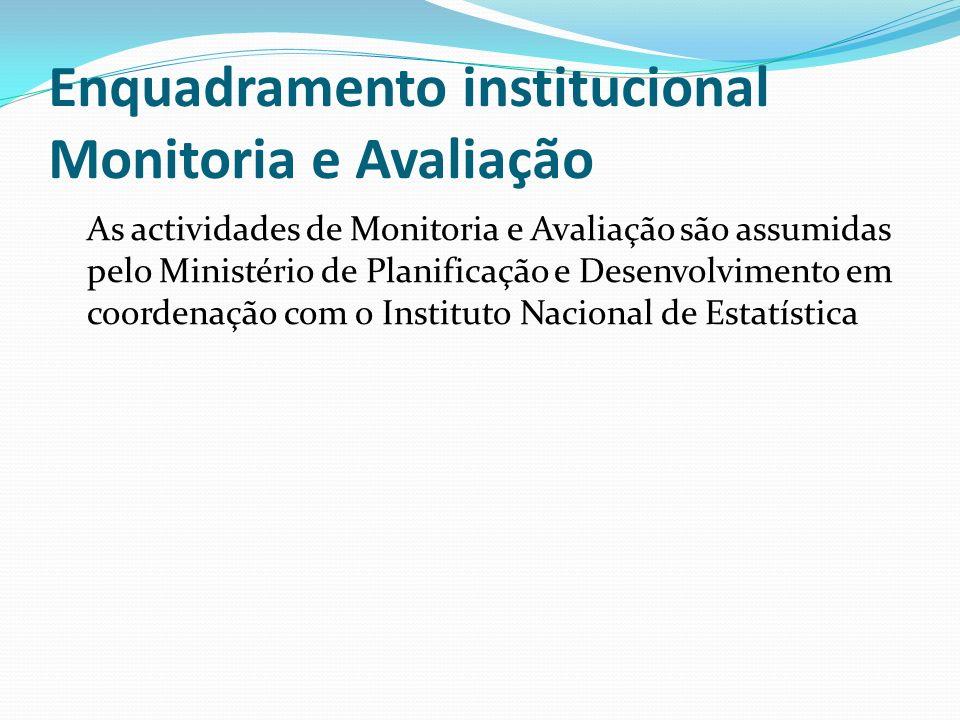 Enquadramento institucional Monitoria e Avaliação As actividades de Monitoria e Avaliação são assumidas pelo Ministério de Planificação e Desenvolvimento em coordenação com o Instituto Nacional de Estatística
