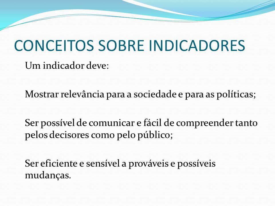 CONCEITOS SOBRE INDICADORES Um indicador deve: Mostrar relevância para a sociedade e para as políticas; Ser possível de comunicar e fácil de compreender tanto pelos decisores como pelo público; Ser eficiente e sensível a prováveis e possíveis mudanças.