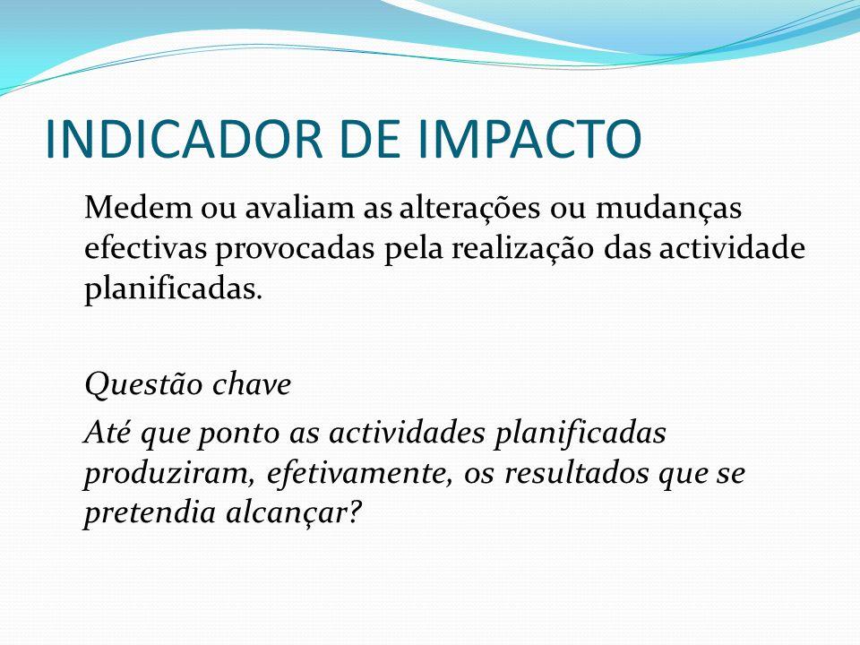 INDICADOR DE IMPACTO Medem ou avaliam as alterações ou mudanças efectivas provocadas pela realização das actividade planificadas. Questão chave Até qu