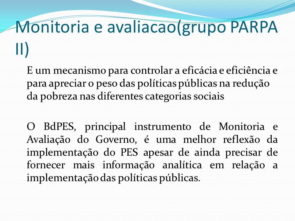 Monitoria e avaliacao(grupo PARPA II) E um mecanismo para controlar a eficácia e eficiência e para apreciar o peso das políticas públicas na redução d
