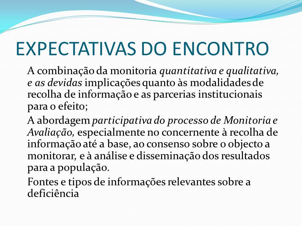 EXPECTATIVAS DO ENCONTRO A combinação da monitoria quantitativa e qualitativa, e as devidas implicações quanto às modalidades de recolha de informação