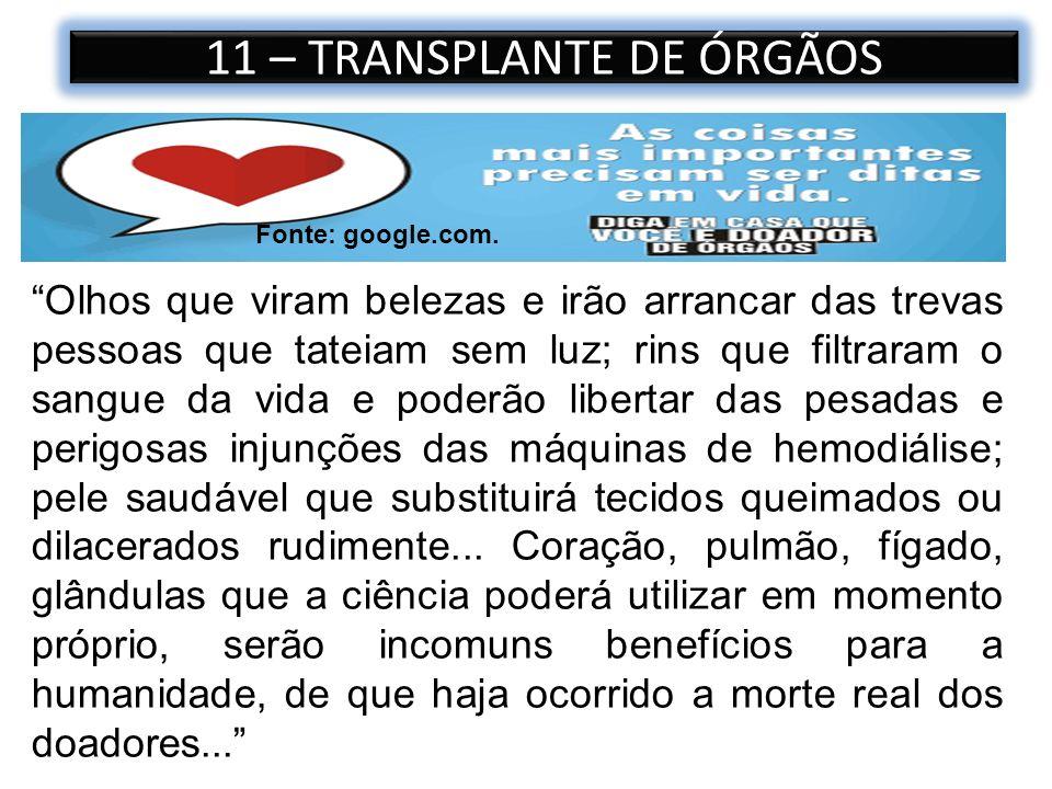 11 – TRANSPLANTE DE ÓRGÃOS Olhos que viram belezas e irão arrancar das trevas pessoas que tateiam sem luz; rins que filtraram o sangue da vida e poder