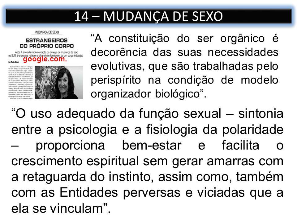 14 – MUDANÇA DE SEXO google.com. O uso adequado da função sexual – sintonia entre a psicologia e a fisiologia da polaridade – proporciona bem-estar e