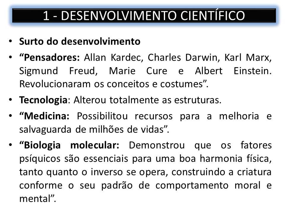 Surto do desenvolvimento Pensadores: Allan Kardec, Charles Darwin, Karl Marx, Sigmund Freud, Marie Cure e Albert Einstein. Revolucionaram os conceitos