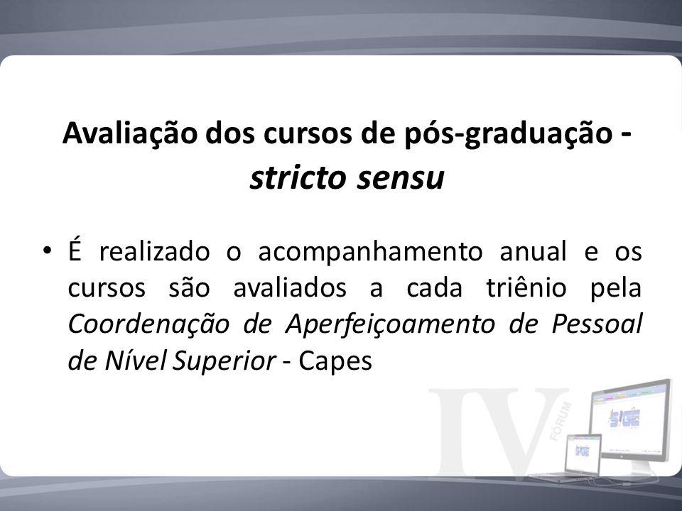 Avaliação dos cursos de pós-graduação - stricto sensu É realizado o acompanhamento anual e os cursos são avaliados a cada triênio pela Coordenação de Aperfeiçoamento de Pessoal de Nível Superior - Capes