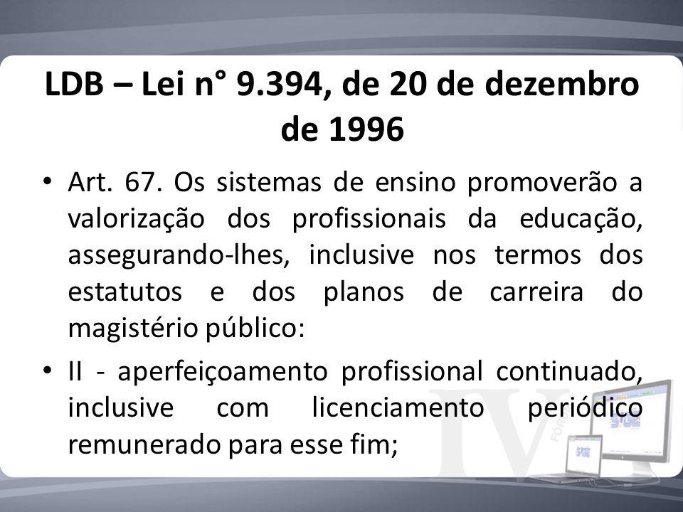 LDB – Lei n° 9.394, de 20 de dezembro de 1996 Art.
