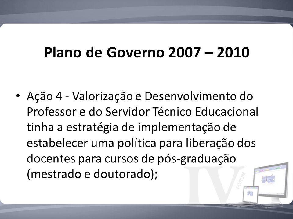 Plano de Governo 2007 – 2010 Ação 4 - Valorização e Desenvolvimento do Professor e do Servidor Técnico Educacional tinha a estratégia de implementação de estabelecer uma política para liberação dos docentes para cursos de pós-graduação (mestrado e doutorado);