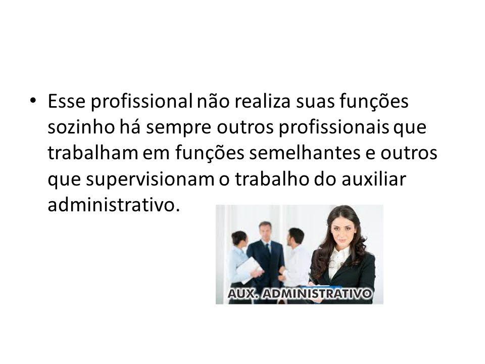 Esse profissional não realiza suas funções sozinho há sempre outros profissionais que trabalham em funções semelhantes e outros que supervisionam o tr