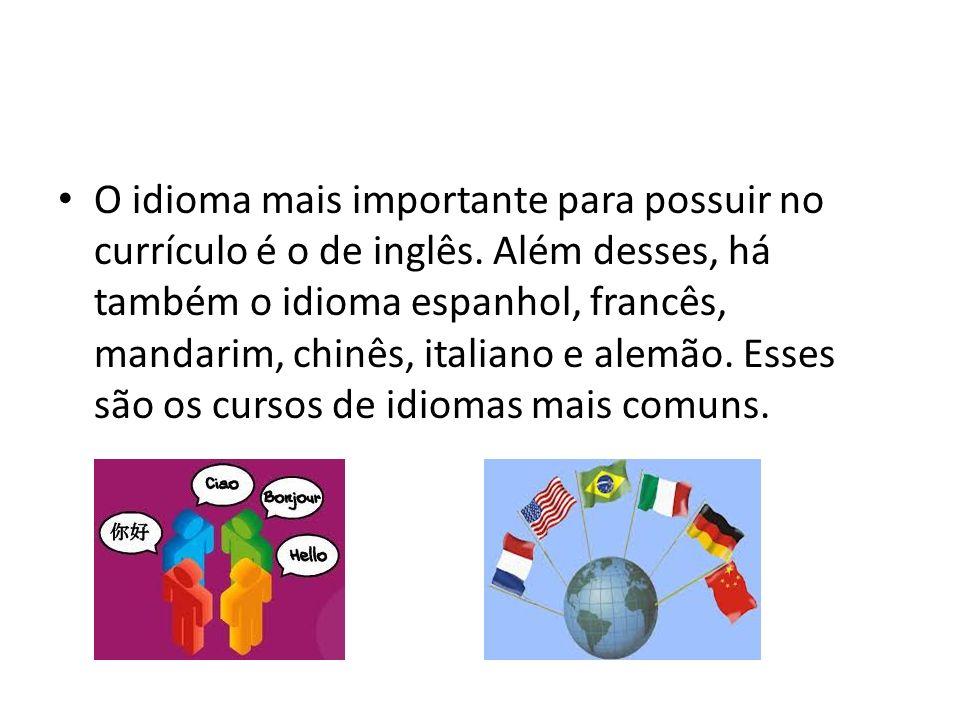 O idioma mais importante para possuir no currículo é o de inglês. Além desses, há também o idioma espanhol, francês, mandarim, chinês, italiano e alem