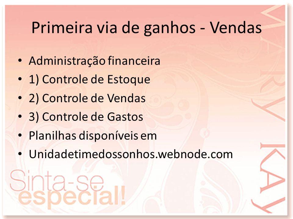 Primeira via de ganhos - Vendas Administração financeira 1) Controle de Estoque 2) Controle de Vendas 3) Controle de Gastos Planilhas disponíveis em U
