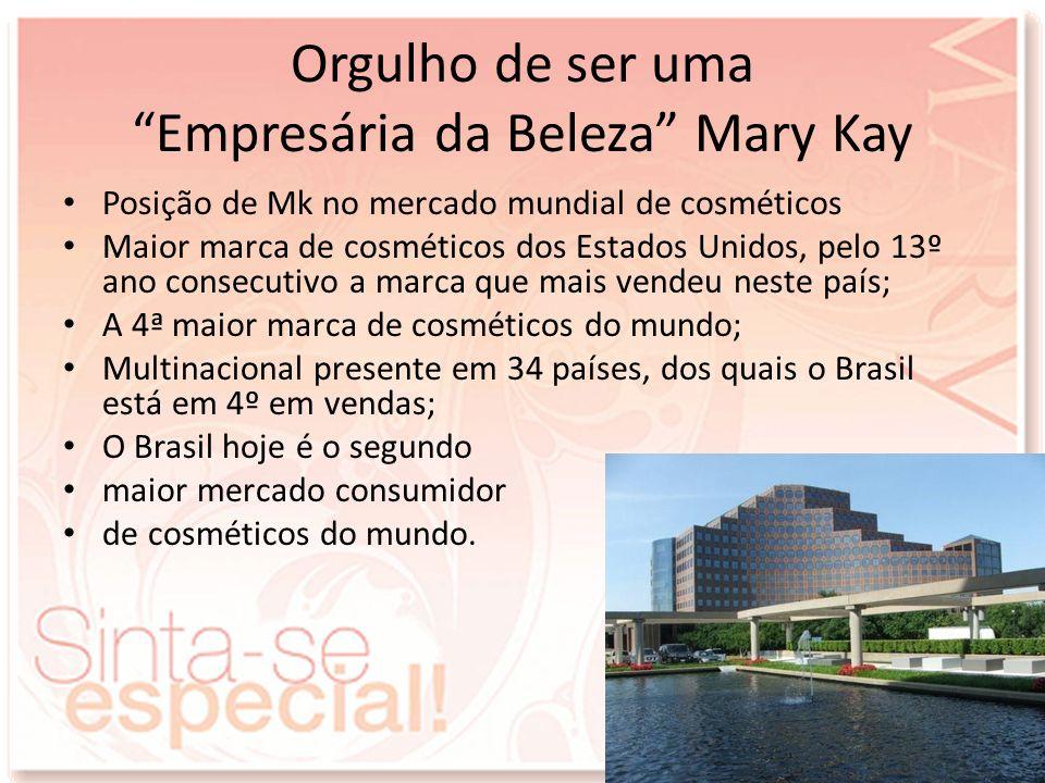 Orgulho de ser uma Empresária da Beleza Mary Kay Posição de Mk no mercado mundial de cosméticos Maior marca de cosméticos dos Estados Unidos, pelo 13º