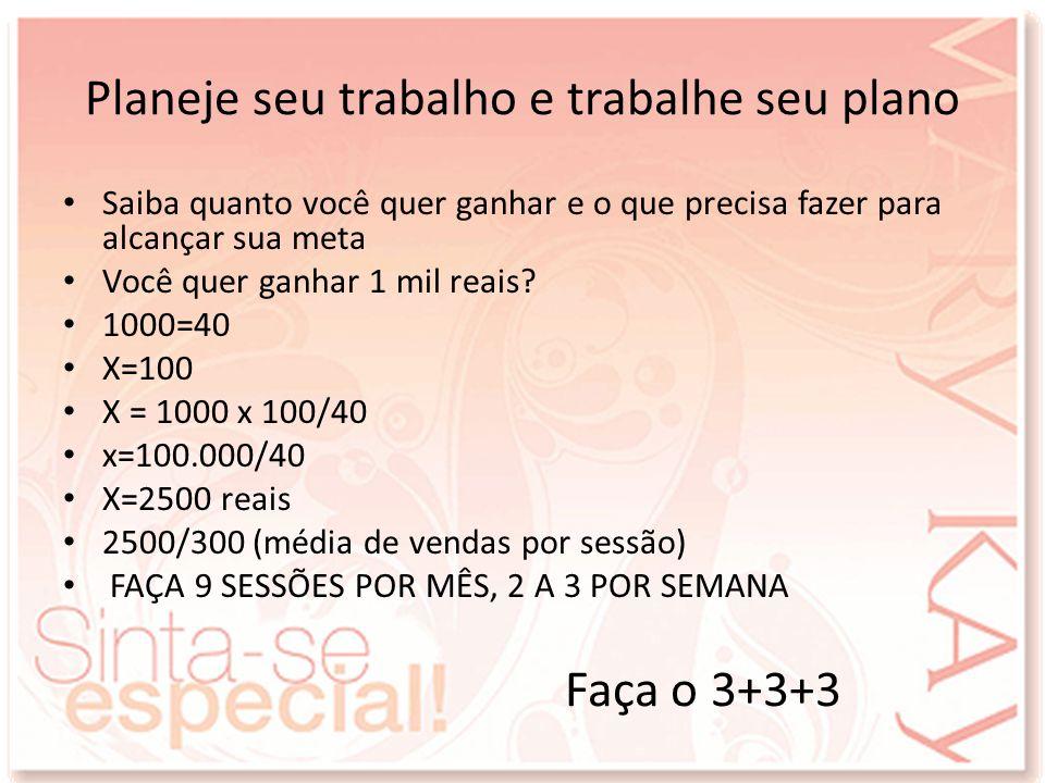 Planeje seu trabalho e trabalhe seu plano Saiba quanto você quer ganhar e o que precisa fazer para alcançar sua meta Você quer ganhar 1 mil reais? 100