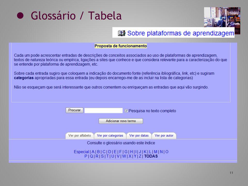 11 Glossário / Tabela
