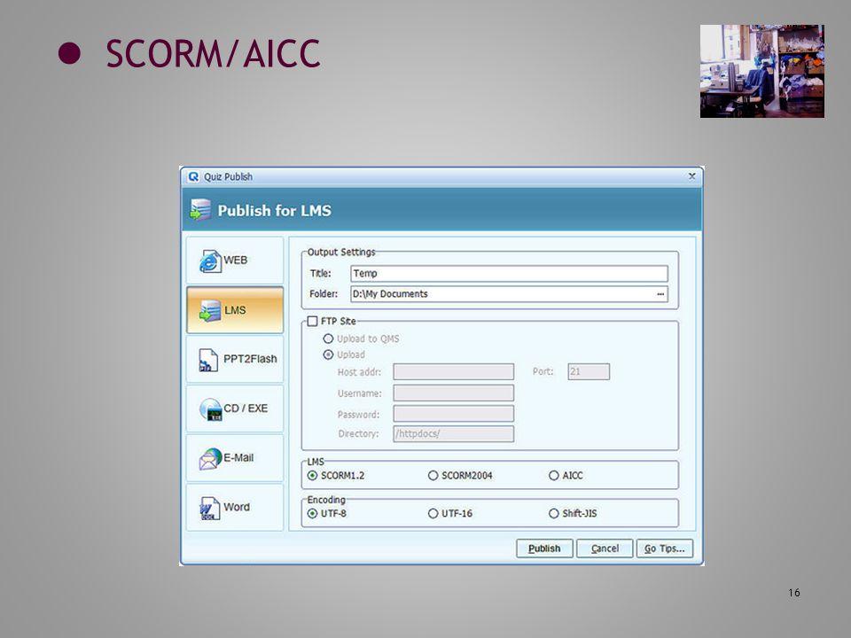 16 SCORM/AICC