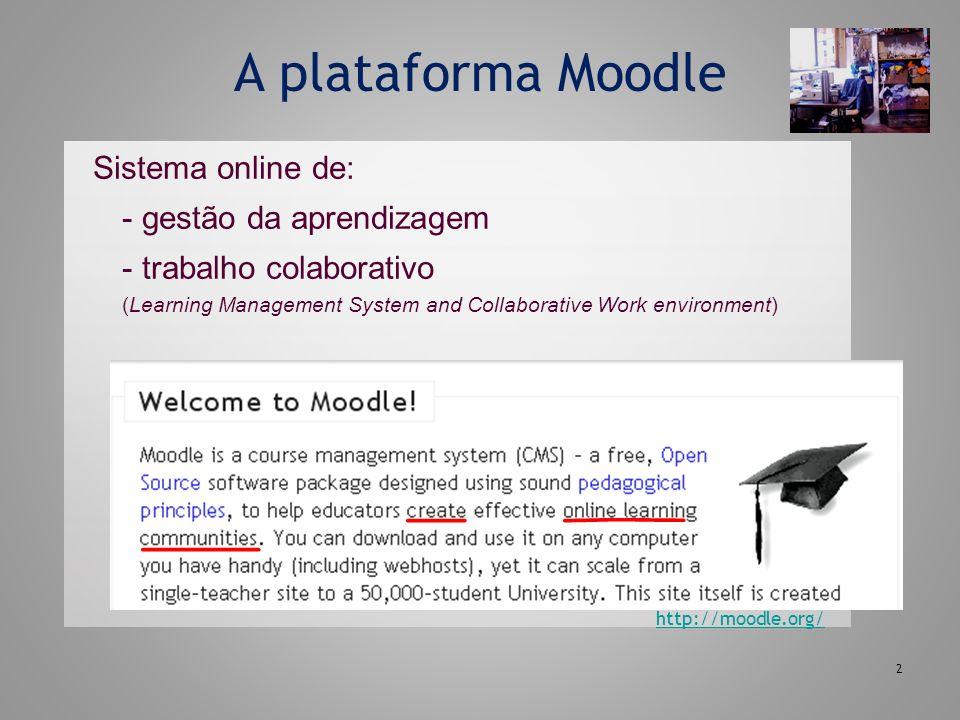 2 A plataforma Moodle Sistema online de: - gestão da aprendizagem - trabalho colaborativo (Learning Management System and Collaborative Work environme
