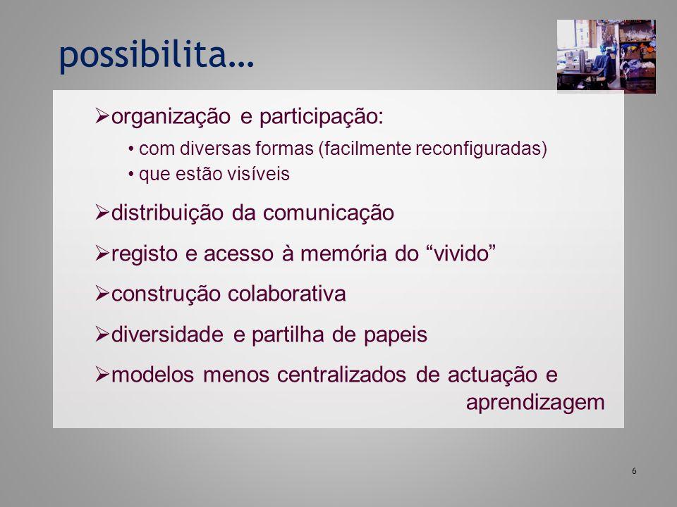 6 organização e participação: com diversas formas (facilmente reconfiguradas) que estão visíveis distribuição da comunicação registo e acesso à memóri