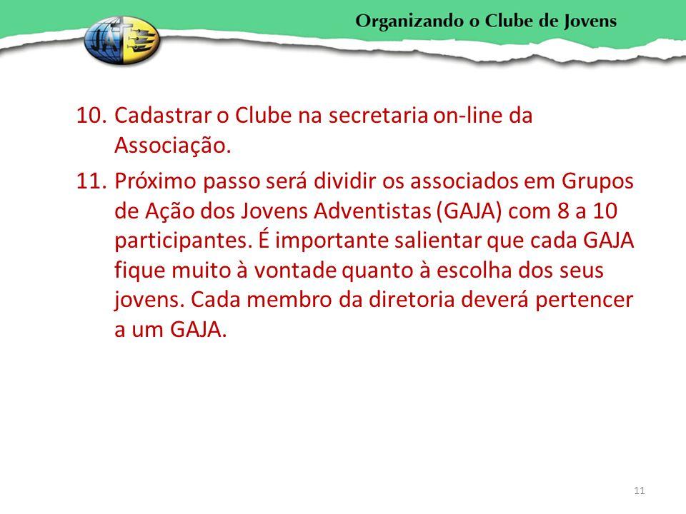 10.Cadastrar o Clube na secretaria on-line da Associação. 11.Próximo passo será dividir os associados em Grupos de Ação dos Jovens Adventistas (GAJA)